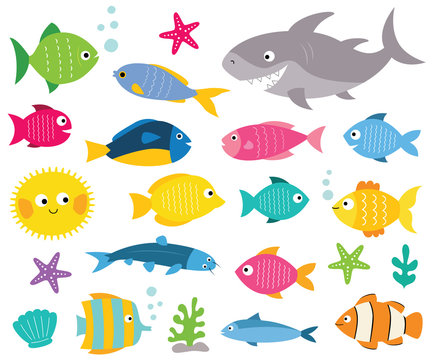 Cartoon fishes set, isolated design elements
