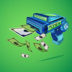 money gun. rich and cash concept - vector