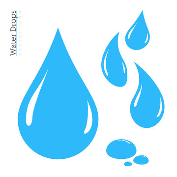 Water Drop Icon Set. Vector Raindrop Silhouette