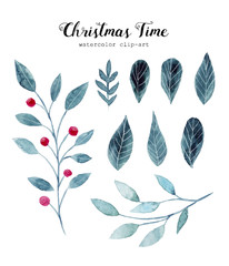 Watercolor illustrations with christmas leaves and flowers. Hand drawn christmas elements
