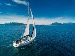 Aerial view of sailing yacht in Norway