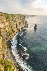 Breanan Mor and O'Briens tower, Cliffs of Moher, Liscannor, County Clare, Munster province, Republic of Ireland, Europe
