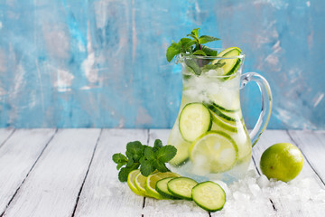 Infused water with cucumber, lime and mint on