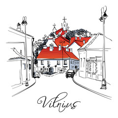 Vector color hand drawing, Typical street in Old Town of Vilnius, Lithuania.