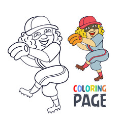 coloring page with woman baseball player cartoon