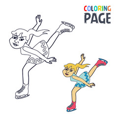 coloring page with woman ice skiing player cartoon