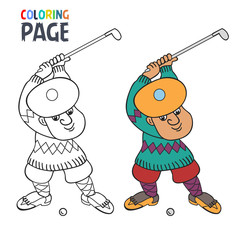 coloring page with golf player cartoon