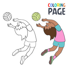 coloring page with woman volley ball player cartoon