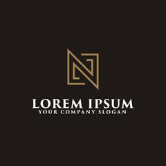 minimalist letter N logo design concept template