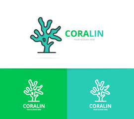 Vector of coral logo. Unique reef and seafood logotype design template.