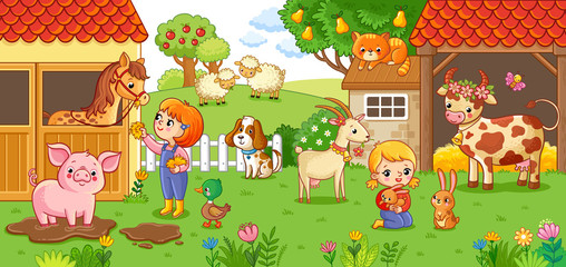 The girl and mother on the farm look after the animals. Vector illustration with animals in cartoon style.