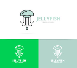 Vector jellyfish and seafood logo design template.
