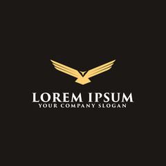 luxury wing bird logo design concept template