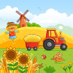 Tractor carries a hay in a cart through a meadow. Vector illustration with a farm technique in a cartoon style. It was laid out, mill and animals in the field.