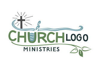 Church logo with cross and leaves.