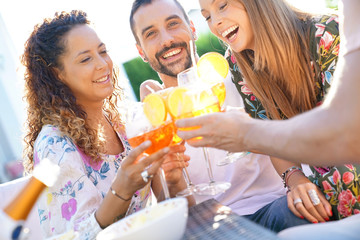 Summer party, group of friends cheering up with drinks