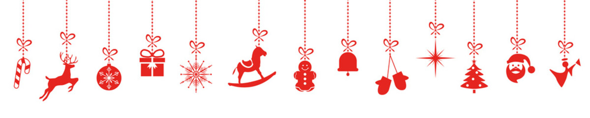 christmas ornaments hanging red