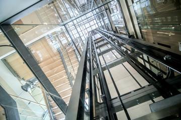 transparent lift modern elevator shaft glass building