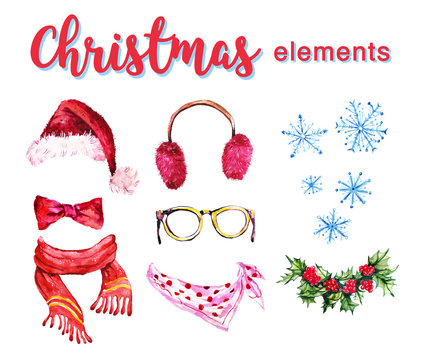 Artistic set of hand drawn watercolor winter objects isolated on white background - santa hat, furry headphones, holly wreath, scarf and snowflake. Good for any Christmas and New year design.