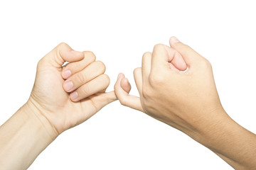 Female and male hands reconcile with clasping each other's little finger isolated on white, concept of promise