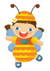 cartoon cheerful girl looking like bee- doll isolated - illustration for children