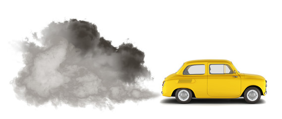 illustration of pollution by exhaust gases the car releases a lot of smoke 3d render Fotobehang