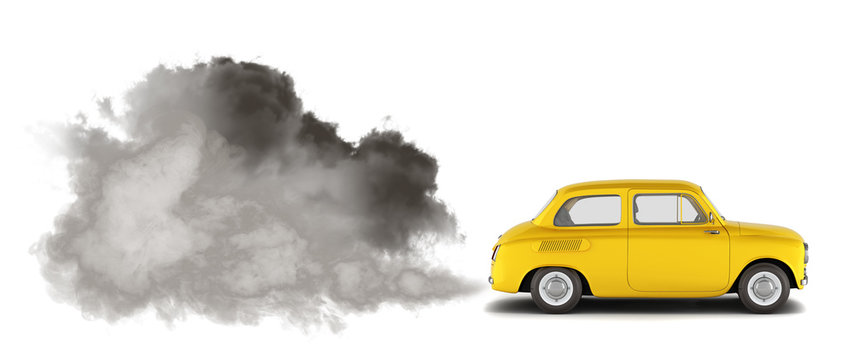 illustration of pollution by exhaust gases the car releases a lot of smoke 3d render