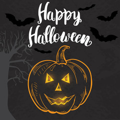 Halloween template with hand drawn pumpkin and lettering