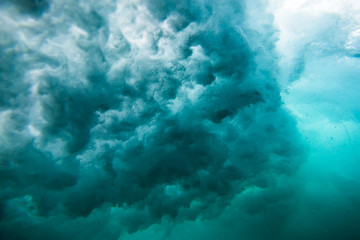 Wave underwater. Blue ocean in underwater. Texture