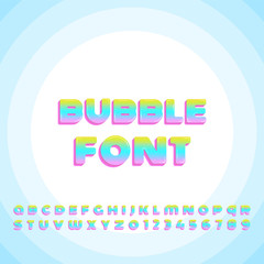 Bright Colorful Bubble font. Vector typography template.
