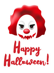 Happy Halloween poster or greating card with scary clown mask