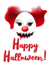 Scary clown mask. Happy Halloween poster or greating card