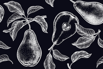 Seamless background with pears.