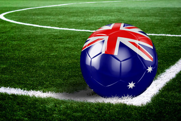 Australia Soccer Ball on Field at Night
