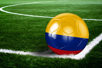 Colombia Soccer Ball on Field at Night