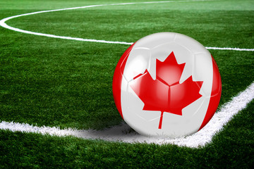 Canada Soccer Ball on Field at Night