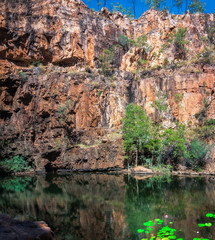 A remote the lily pond lagoon close to Katherine Gorge in Nitmiluk National Park, Northern Territory, Australia.