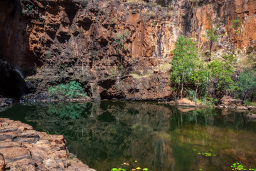A remote the lily pond lagoon at Katherine Gorge, Northern Territory, Australia. Because it is not connected with the main water ways, it is safe from the crocodiles to swim in here.