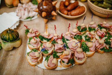 wedding reception  table with snacks