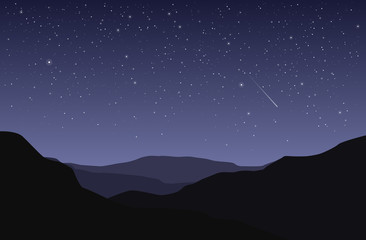 Vector landscape with black silhouette of land and starry blue and violet sky