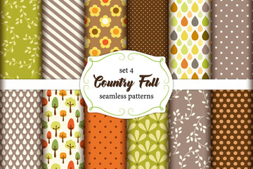 Set of 12 cute seamless Country Fall patterns with primitive ornaments