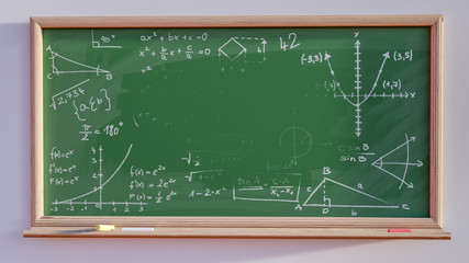 3D render of a blackboard with scribbles and copy space