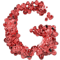 Letter G made of bubbly red glass