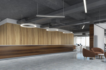 Dark wood reception in round lamp office, side