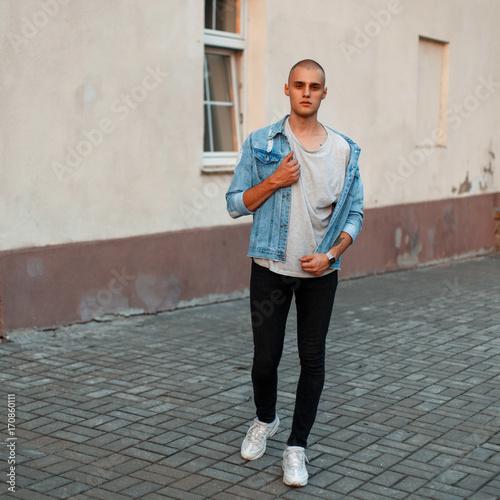 Black shirt jeans jacket