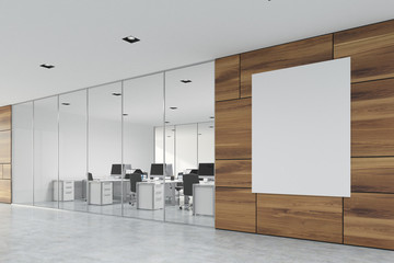 Wooden office lobby with a poster