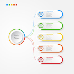 Infographics of 5 elements horizontal ,presentration timeline template step option