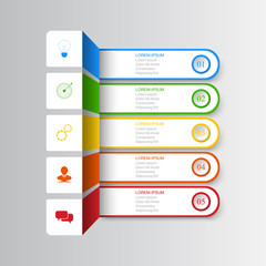 Infographics of 5 elements horizontal business data visualization banner option