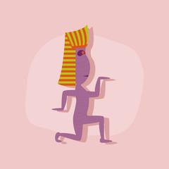 paper sticker on stylish background mummy halloween monster