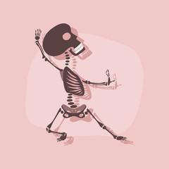 paper sticker on stylish background skeleton Halloween monster